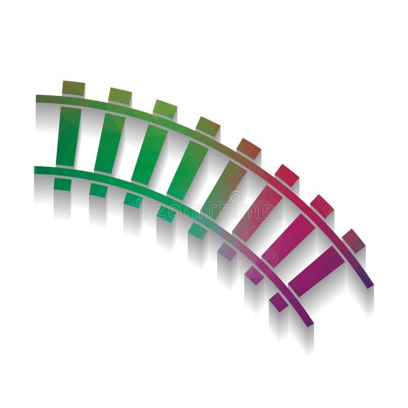 Muestra ferroviaria Pista curvada Vector Icono colorido con el te brillante libre illustration