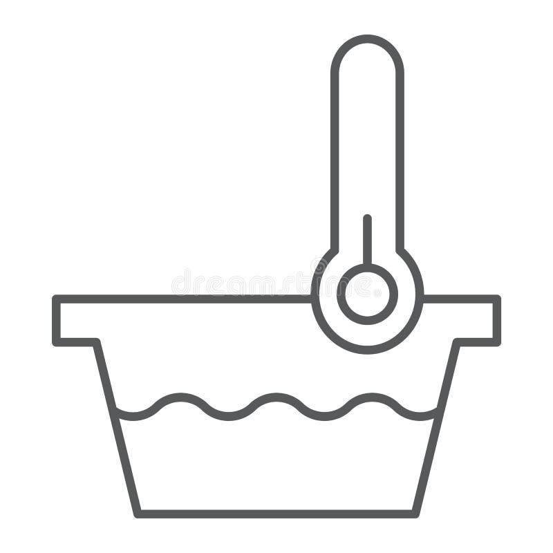 Muestra fina de la línea icono, del indicador y del lavado, del termómetro y del lavabo de la baja temperatura, gráficos de vecto stock de ilustración
