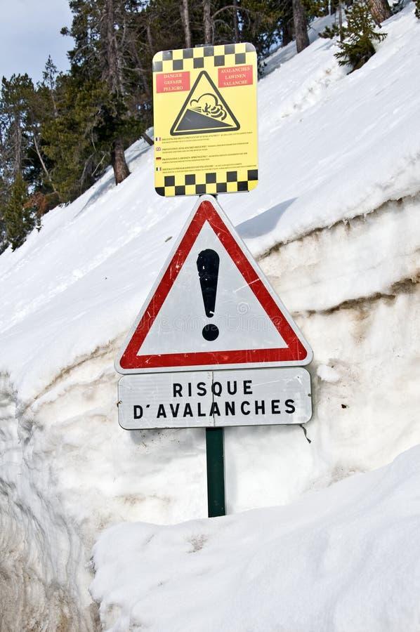 Muestra francesa del peligro de la avalancha fotos de archivo