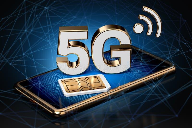 muestra 5G en la pantalla elegante del teléfono con la tarjeta del sim al lado de ella con nodos de red de alta velocidad alreded ilustración del vector