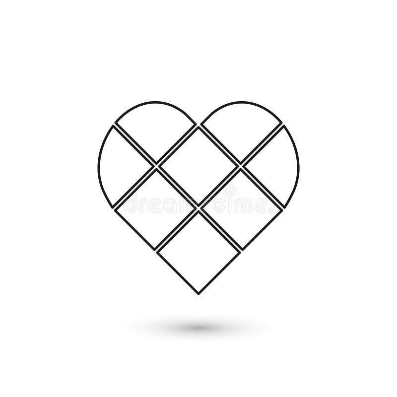 Muestra geométrica del corazón Diseño gráfico de la moda Ilustración del vector Diseño del fondo Ilusión óptica 3D Extracto elega stock de ilustración