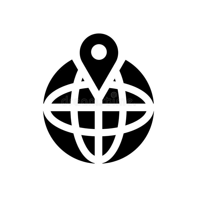 Muestra global y símbolo del vector del icono de la localización aislados en el fondo blanco, concepto global del logotipo de la  ilustración del vector