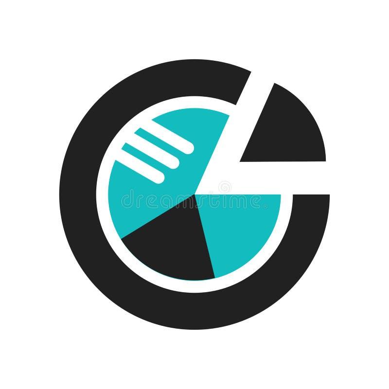 Muestra gráfica y símbolo del vector del icono de la circular del analytics de los datos aislados en el fondo blanco, logotipo gr stock de ilustración