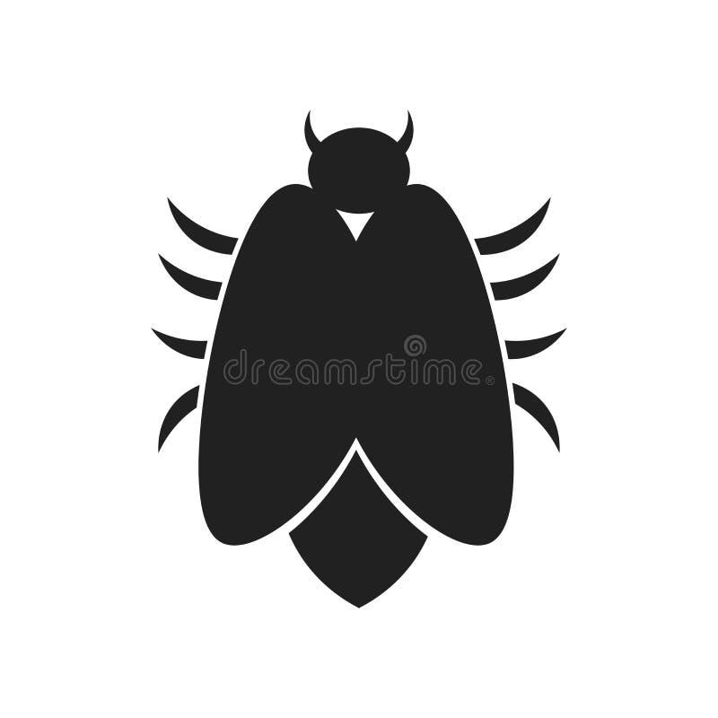 Muestra grande y símbolo del vector del icono del insecto aislados en el fondo blanco, concepto grande del logotipo del insecto ilustración del vector