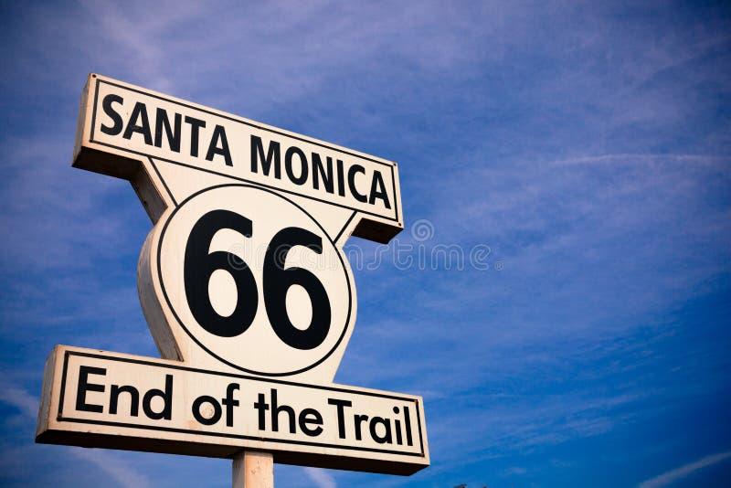 Muestra histórica de Route 66 Santa Monica fotografía de archivo libre de regalías