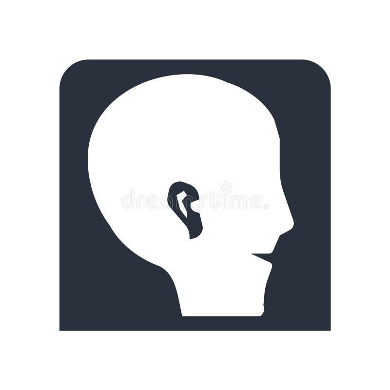 Muestra humana y símbolo del vector del icono de la forma del oído aislados en el fondo blanco, concepto humano del logotipo de l ilustración del vector