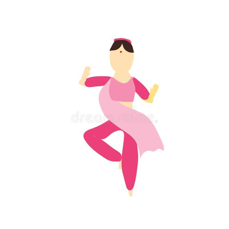 muestra india y símbolo del vector del vector del baile de la muchacha aislados en el fondo blanco, concepto indio del logotipo d libre illustration