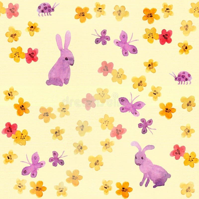 Muestra infantil inconsútil con las flores lindas, mariposas de la acuarela, conejo pintado a mano ilustración del vector