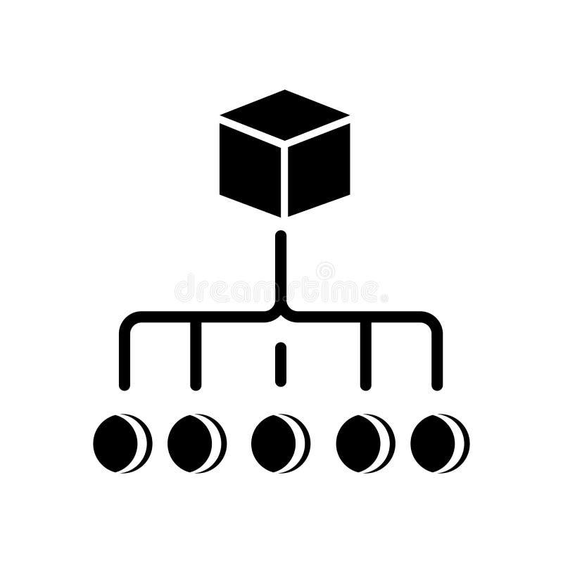 Muestra jerárquica y símbolo del vector del icono de la orden aislados en blanco ilustración del vector