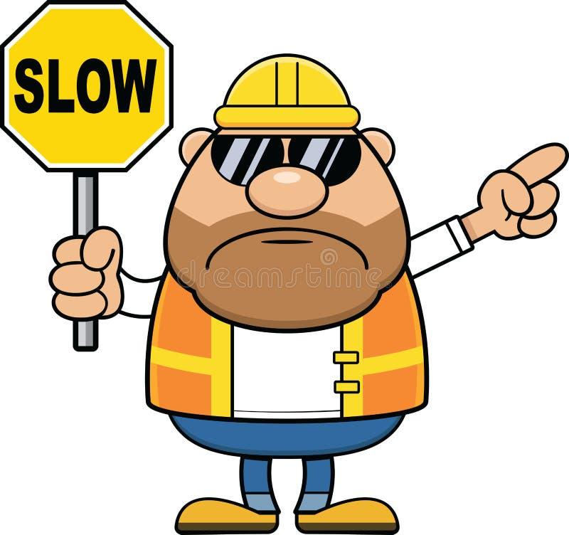 Muestra lenta del trabajador de construcción de la historieta stock de ilustración