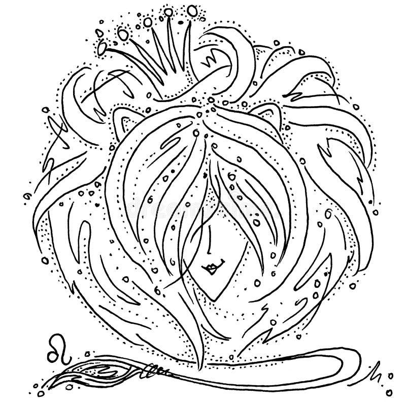 Muestra Leo del zodiaco blanco y negro dibujando a una muchacha con el pelo como la melena de un león ilustración del vector