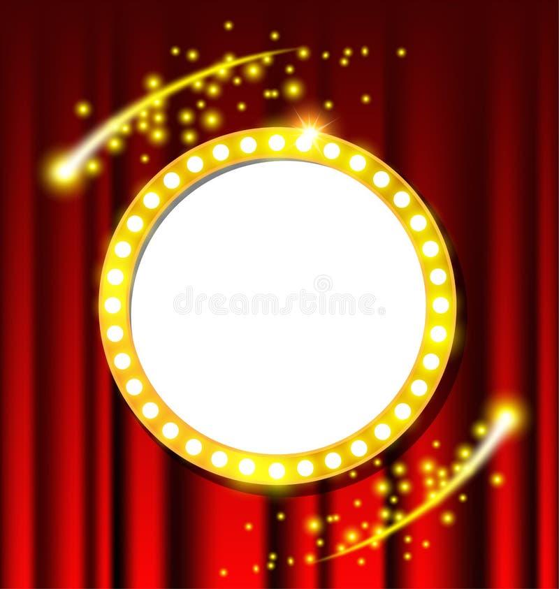 Muestra ligera retra del círculo y cortina roja stock de ilustración