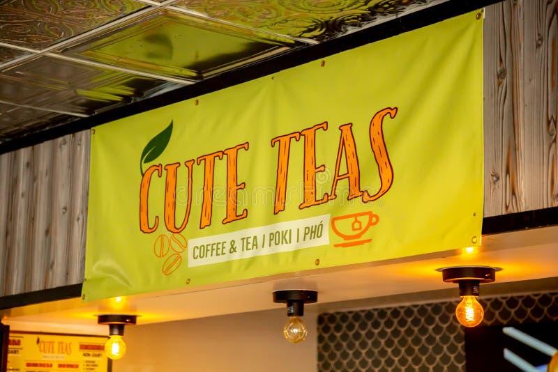 Muestra linda del restaurante de los tés imágenes de archivo libres de regalías