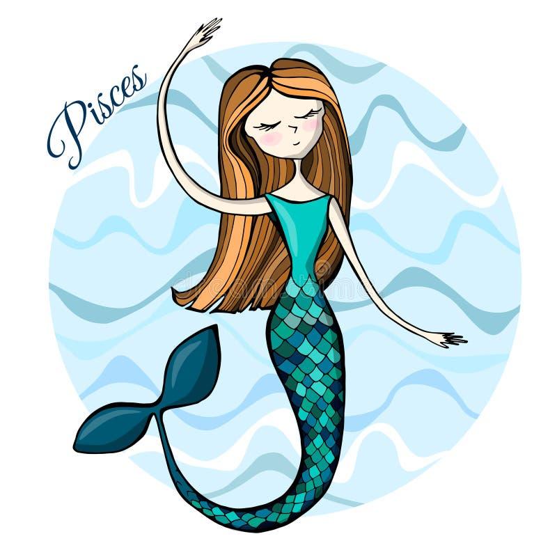Muestra linda Piscis del zodiaco libre illustration