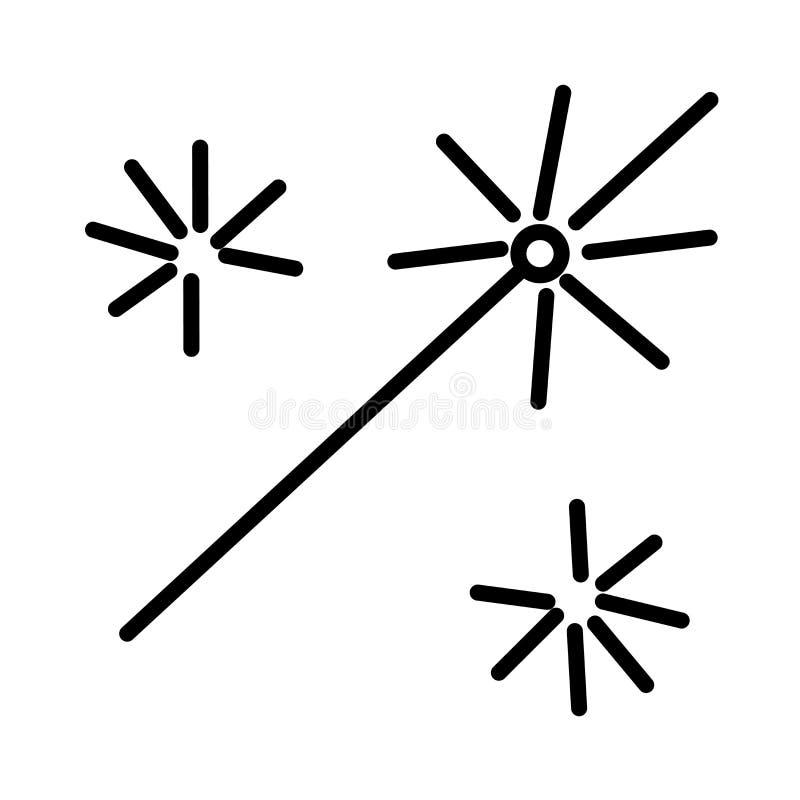 Muestra mágica y símbolo del vector del icono del botón de la vara aislados en el fondo blanco, concepto mágico del logotipo del  ilustración del vector