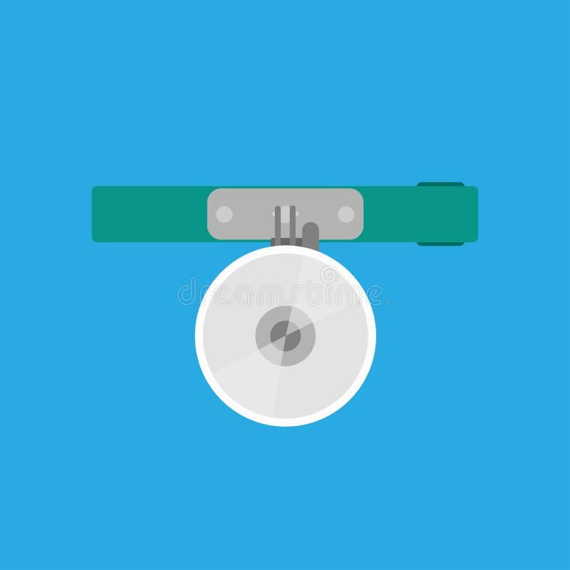 Muestra médica del hospital del icono del vector del espejo principal Equipo plano del elemento de la clínica del doctor Herramie ilustración del vector