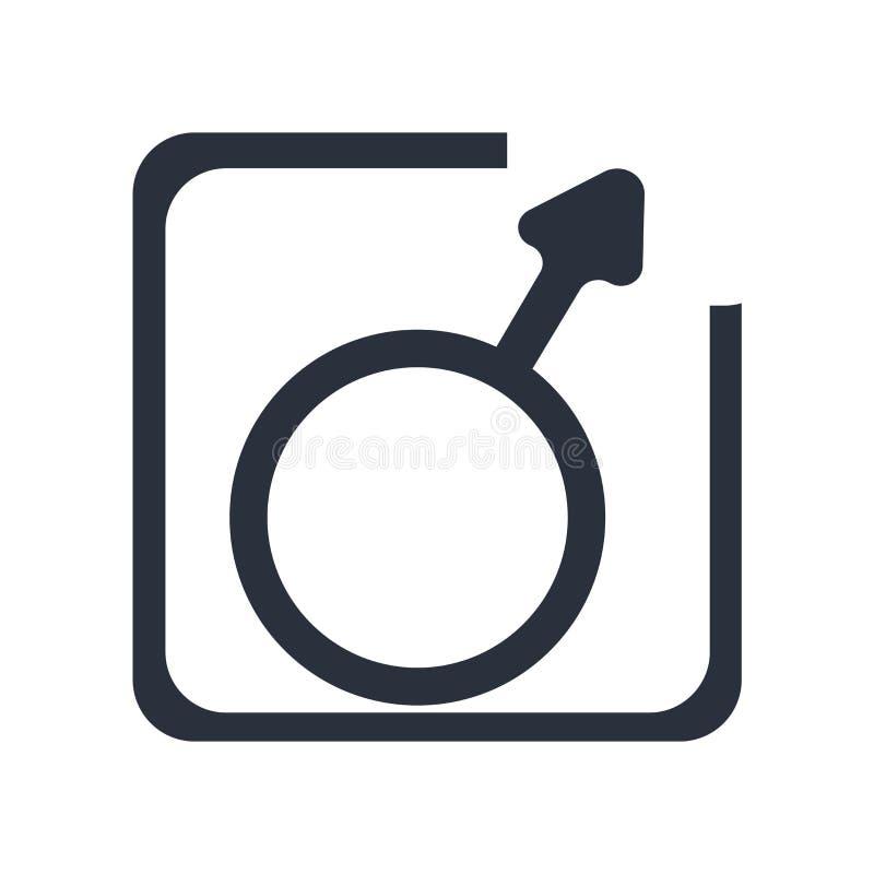 Muestra masculina y símbolo del vector del icono de la muestra del género aislados en el fondo blanco, concepto masculino del log stock de ilustración