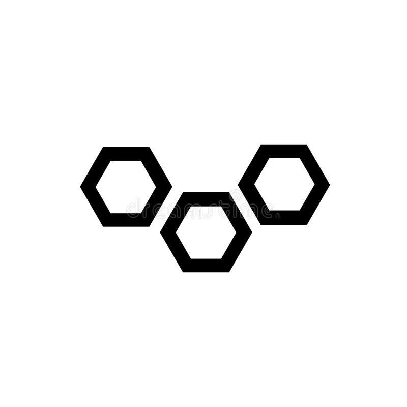 Muestra molecular y símbolo en enlace del vector del icono aislados en el fondo blanco, concepto en enlace molecular del logotipo stock de ilustración