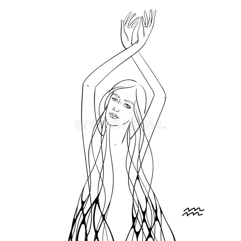 Muestra monocromática gráfica del zodiaco del ejemplo libre illustration