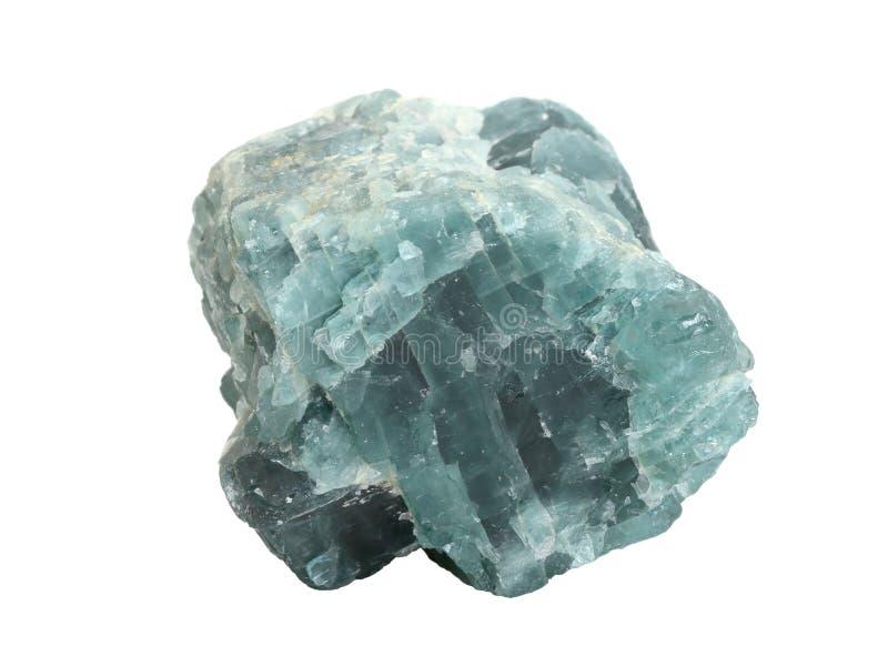 Muestra natural de mineral del fluorito o de la fluorina en el fondo blanco foto de archivo