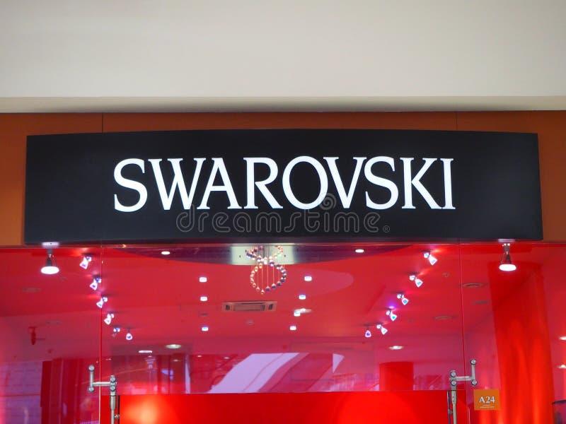 Muestra negra al aire libre de la joyería cristalina de Swarovski en la alameda de Atlantic City foto de archivo libre de regalías