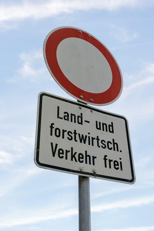 Muestra - ninguna calle - tráfico agrícola y silvícola de la lengua alemana fotografía de archivo libre de regalías