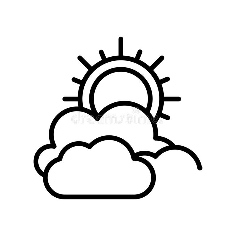 Muestra nublada y símbolo del vector del icono aislados en el fondo blanco, concepto nublado del logotipo stock de ilustración
