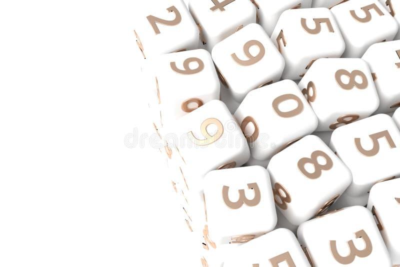 Muestra o símbolo de número, cubo o bloque para la textura del diseño, fondo Gris o b&w blanco y negro 3D rendir libre illustration