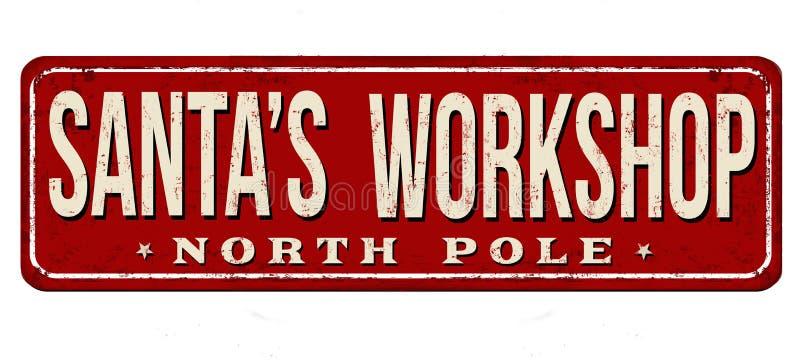 Muestra oxidada del metal del vintage del taller de Papá Noel ilustración del vector
