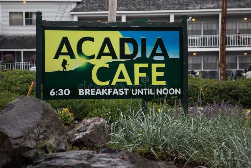 Muestra para el restaurante del desayuno del café del Acadia imagen de archivo