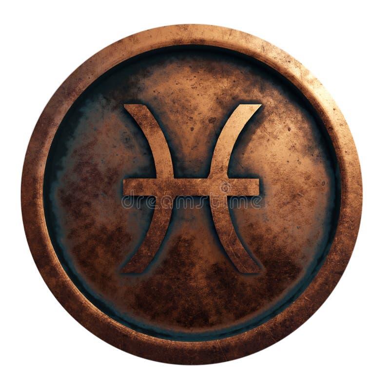 Muestra Piscis del horóscopo en el círculo de cobre stock de ilustración