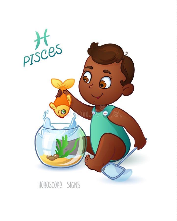 Muestra Piscis del zodiaco El bebé de Americam del africano pesca en el acuario usando una red para pescar Muestra PISCIS del hor ilustración del vector
