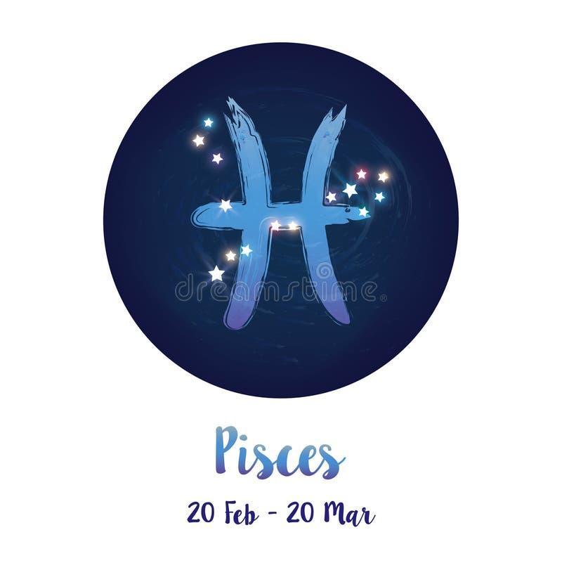 Muestra Piscis del zodiaco en espacio cósmico de las estrellas con el icono de la constelación de Piscis Cielo nocturno estrellad ilustración del vector