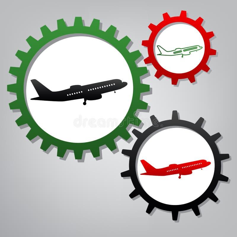 Muestra plana del vuelo Vista lateral Vector Tres engranajes conectados con stock de ilustración