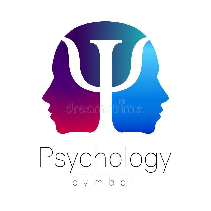 Muestra principal moderna de la psicología Ser humano del perfil Letra PSI Estilo creativo Símbolo en vector Color azul violeta a ilustración del vector