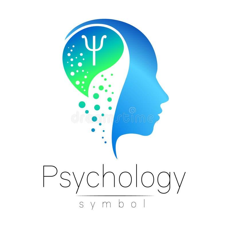 Muestra principal moderna de la psicología Ser humano del perfil Letra PSI Estilo creativo Símbolo en vector Concepto de diseño b ilustración del vector