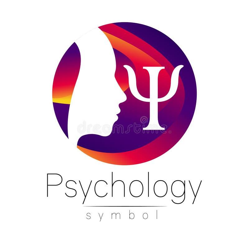 Muestra principal moderna del logotipo de la psicología Ser humano del perfil Letra PSI Estilo creativo ilustración del vector