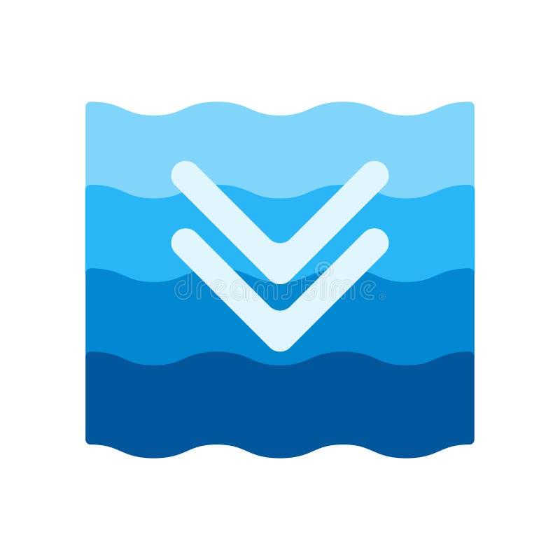Muestra profunda y símbolo del vector del icono aislados en el fondo blanco, concepto profundo del logotipo libre illustration