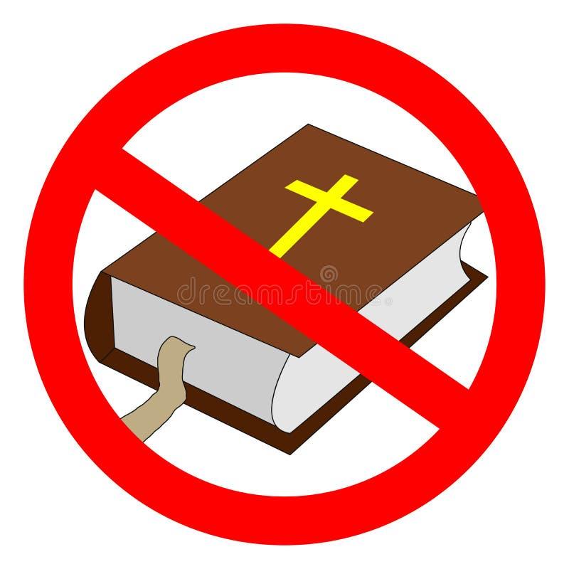 Muestra prohibida biblia Worldview ateo, ausencia de creencia en deidades, concepto religioso del escepticismo stock de ilustración