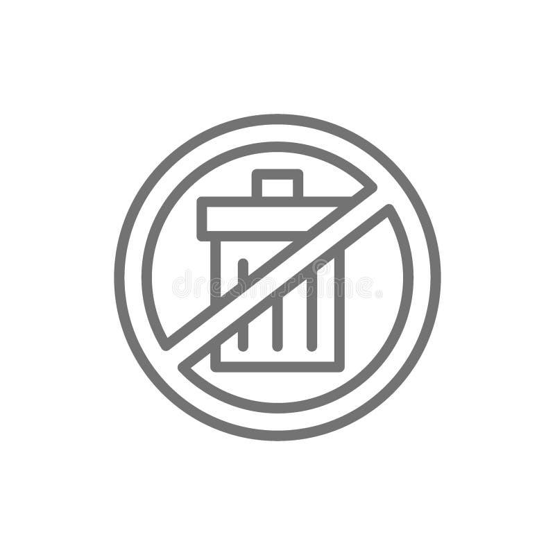 Muestra prohibida con el bote de basura, basura libre, ninguna línea inútil icono ilustración del vector