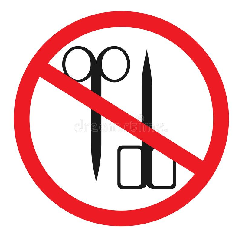 Muestra prohibida con el icono del glyph de las tijeras Ninguna prohibición del corte libre illustration