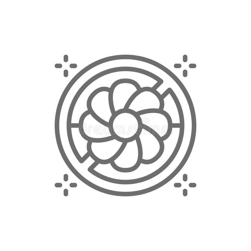 Muestra prohibida con las flores, línea icono de la alergia del polen stock de ilustración