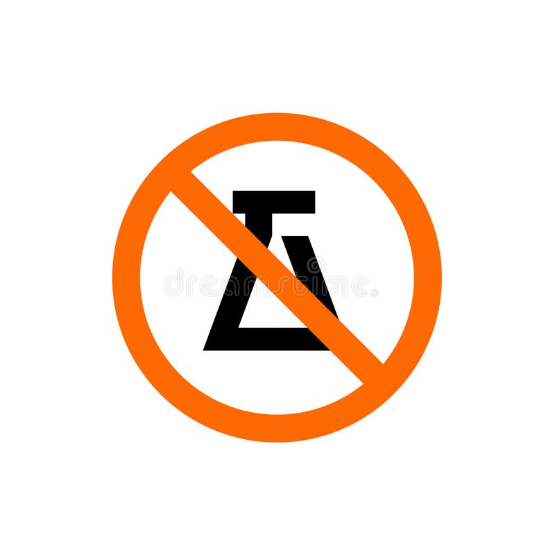 Muestra prohibida del experimento, símbolo de la prohibición, ejemplo Editable del vector libre illustration