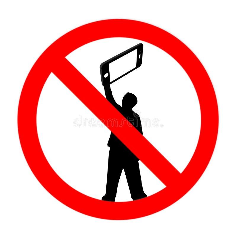 Muestra prohibida ningún ejemplo del diseño de Selfie aislado en blanco imagen de archivo