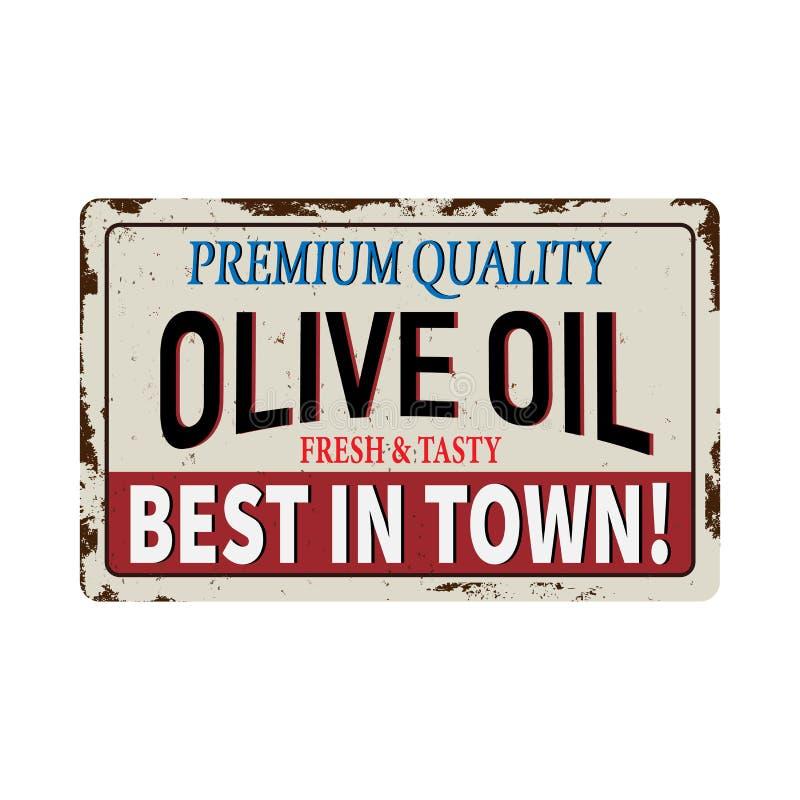 Muestra promocional del metal del vintage de Olive Oil Publicidad retra para el restaurante de la comida stock de ilustración