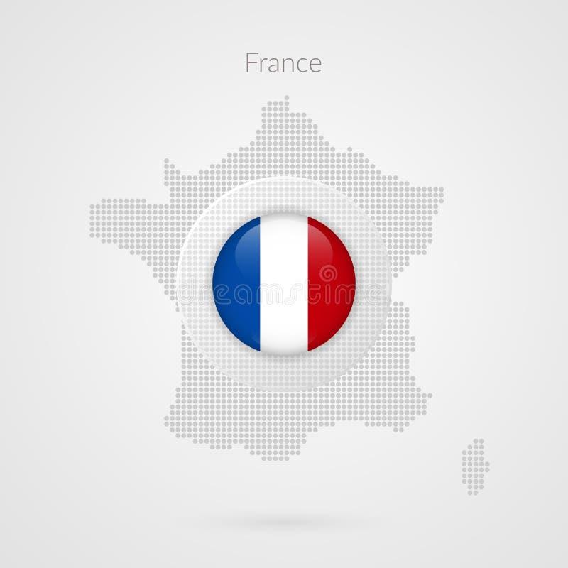 Muestra punteada mapa del vector de Francia Símbolo francés aislado del círculo de la bandera Icono del ejemplo del país europeo  stock de ilustración