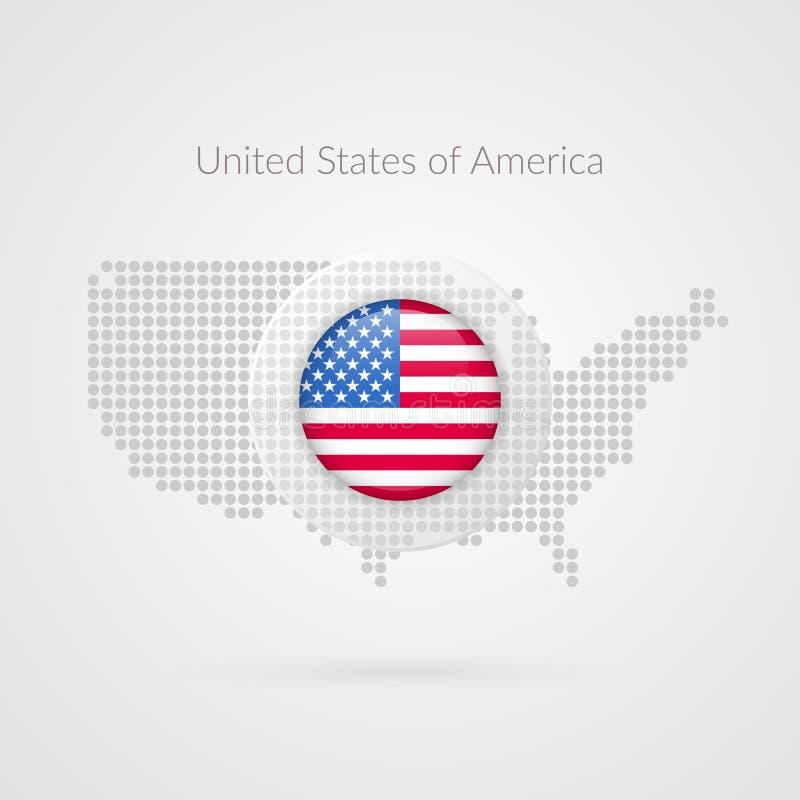 Muestra punteada mapa del vector de los Estados Unidos de América Los E.E.U.U. señalan símbolo por medio de una bandera aislado stock de ilustración