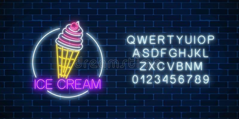 Muestra que brilla intensamente de neón del helado con el esmalte en marco del círculo con alfabeto Helado en cono de la galleta stock de ilustración
