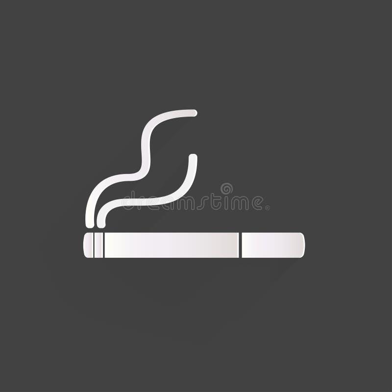 Muestra que fuma. icono del cigarrillo. ilustración del vector