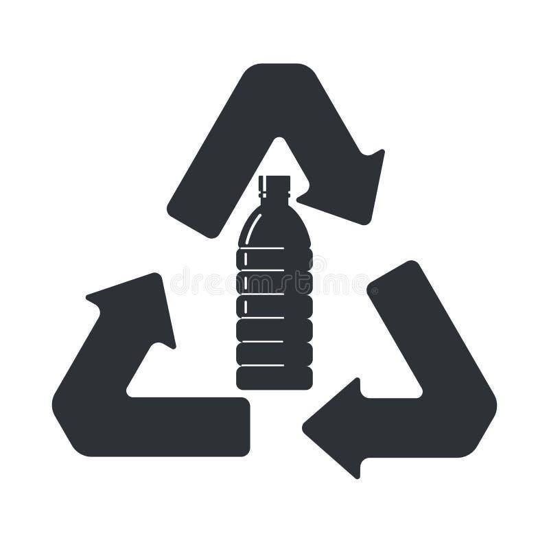 Muestra que recicla las botellas plásticas Icono plano del estilo stock de ilustración
